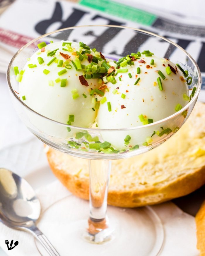 Two Peeled Soft-Boiled Eggs in a Glass (with stem): Vienna Coffee-House Virility (Recipe) #EierImGlas