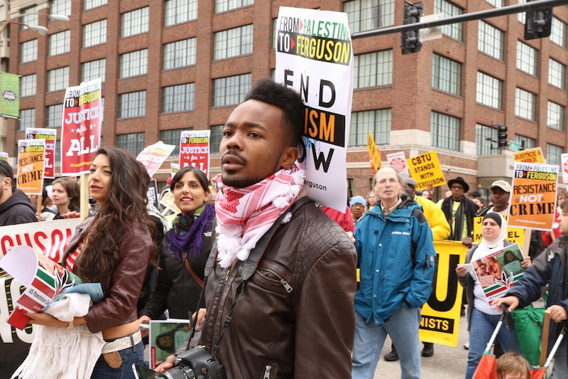 Picture of the Palestine Contingent during the main march during Ferguson October.