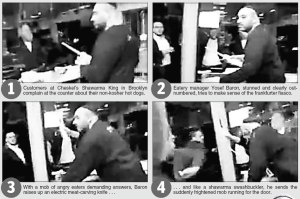 Manager fends off hotdog eaters before Shomrim save him