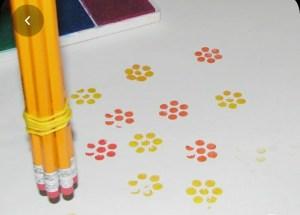 crayon tampon fleur