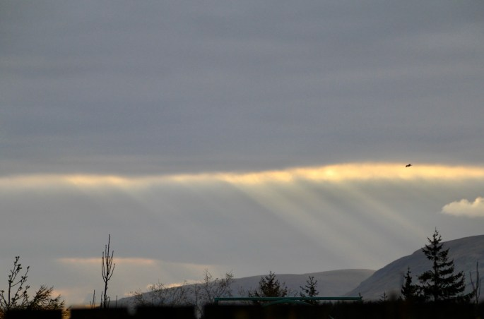 Crepuscular rays over Campsie Hills