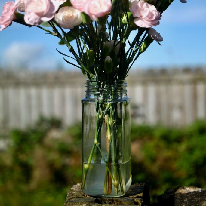 Coffee jar as a vase