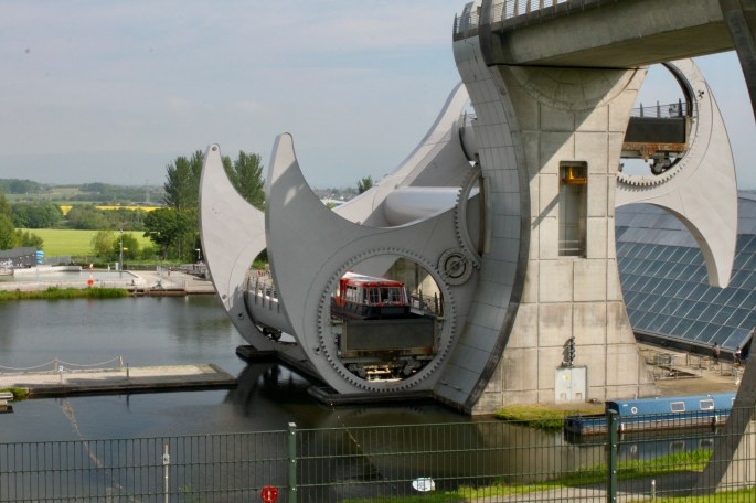 Canal boat on the Falkirk Wheel