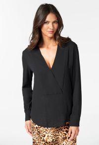 Shawl Collar Deep V Top in Black - Get great deals at JustFab