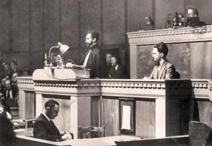 Hailé Sélassié I - 1936 - tribune de l'Assemblée de la SDN