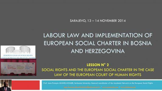Sarajevo training – formation des juges de Bosnie-Herzégovine (2) : droit du travail et droit européen [mes thèmes et présentations]