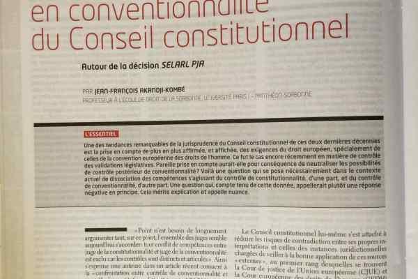 Le Conseil constitutionnel, juge de conventionnalité ? [AJDA, n° 13/2015].