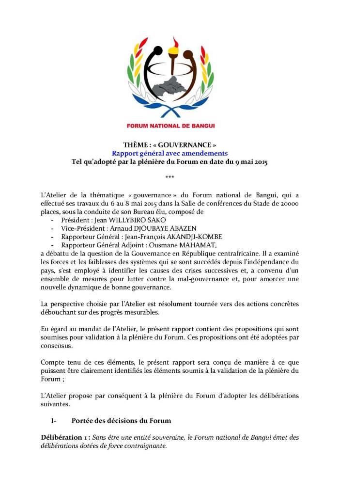 FORUM DE BANGUI- COMMISSION GOUVERNANCE - RAPPORT FINAL AMENDÉ APRÈS PLÉNIÈRE_Page_1