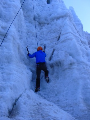 Brendan, now showing me how its done on the big ice wall