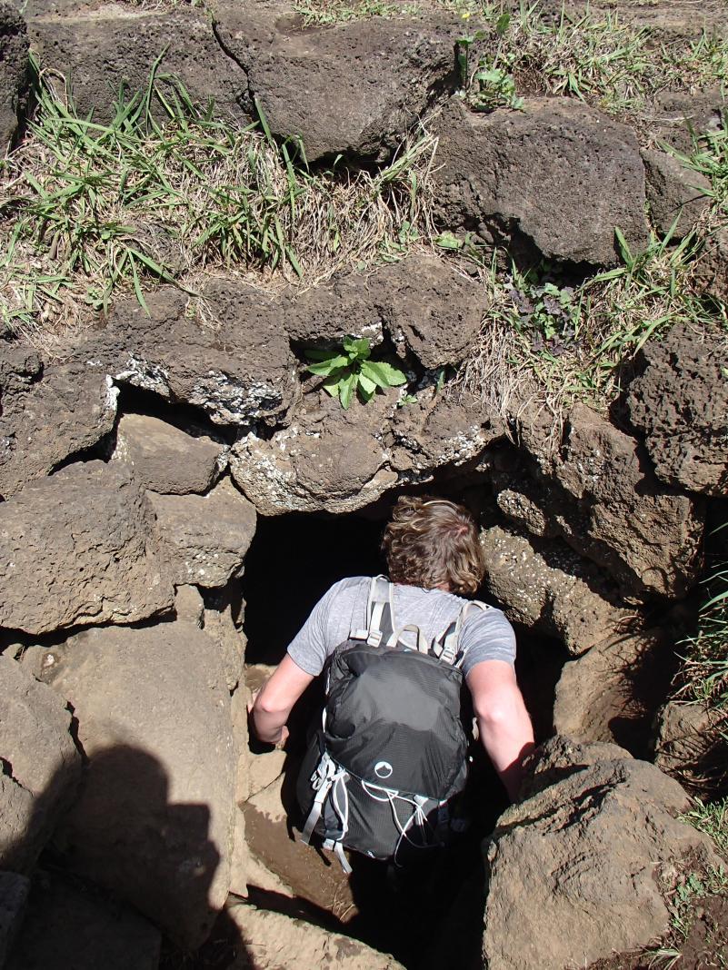 Dan bravely going into a random hole