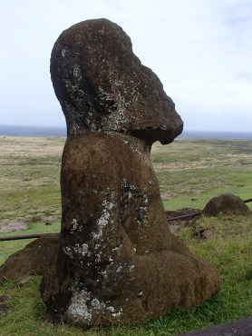One of the few fully carved Moai left on the island
