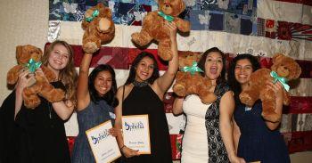 header girls with teddy bears