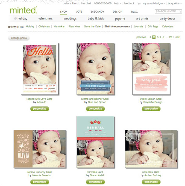 Minted.com Baby Birth Announcement