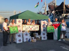 First boxes of medical supplies arrive at AlAwda in port of Naples