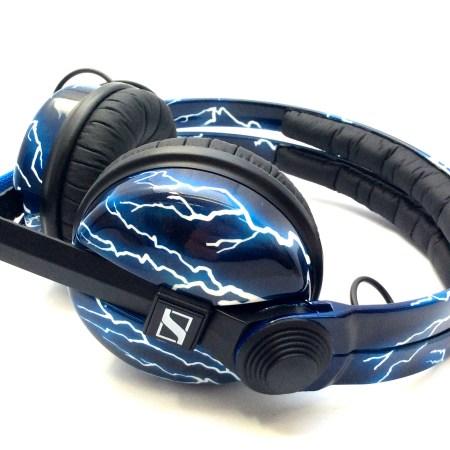 Custom Cans Electric Blue Lightning Sennheiser HD25 DJ Headphones with 2 year warranty