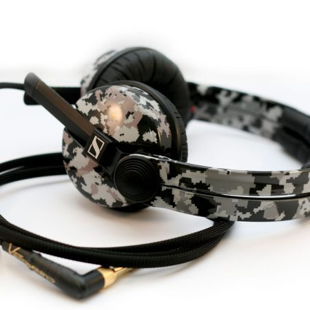 Custom Cans Digital Camouflage Pixel Monochrome Sennheiser HD25 DJ Headphones with 2 year warranty