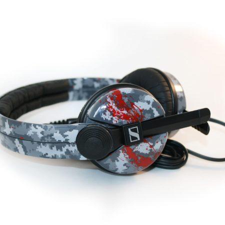 Custom Cans Sennheiser HD25 DJ Headphones 'Digital Homicide' in Monochrome Pixel Camo with red splatter