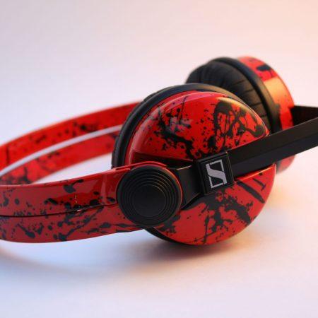 Custom Cans HD25 Sennheiser Flame Red with Black Splatter Customised DJ Headphones