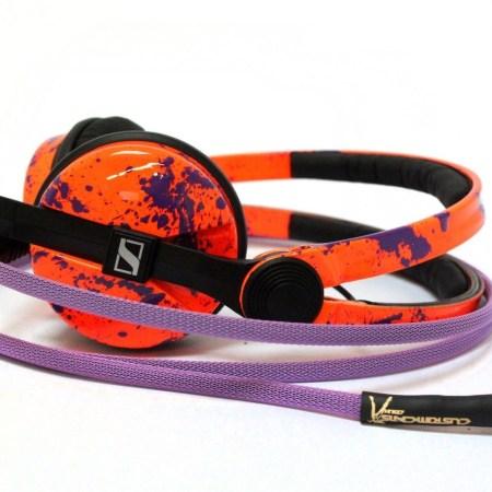 Custom Cans Neon Fluorescent UV Orange and Purple Paint Splatter Sennheiser HD25 DJ Headphones with 2yr warranty