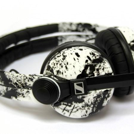 Sennheiser HD25 DJ Headphones White with Black Splatter