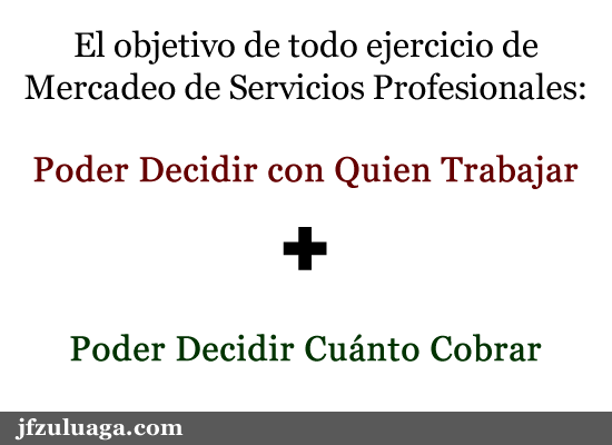 El objetivo de mercadear nuestros servicios profesionales es....
