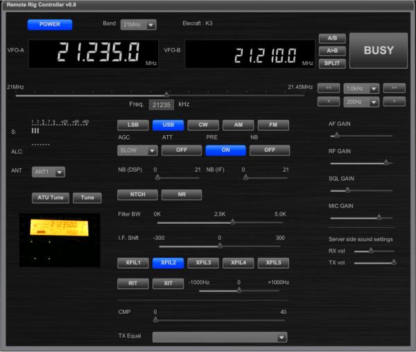 RRS-101 Elecraft K3接続画面