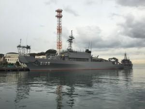 田浦湊に停泊中の海洋観測艦 AGS-5505「にちなん」