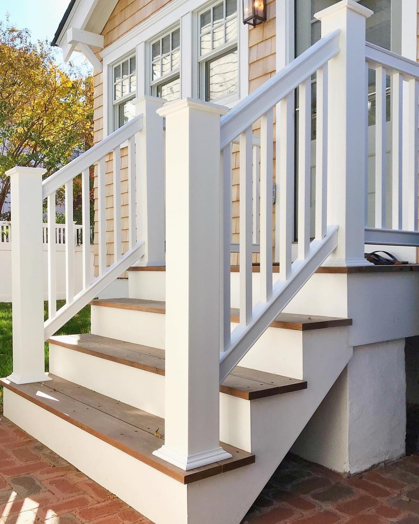 Newel Post Wraps Intex Millwork   Shaker Style Newel Post   Stair Newel   Farmhouse   Stained   Porch   Shingle Style