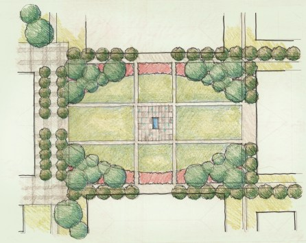 Conceptual plan of the academic quad with a central interactive fountain plaza, woodland canopy corners set in planting beds of native grasses and perennials.