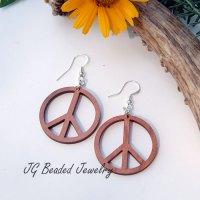 Peace Sign Wood Earrings - JG Beads