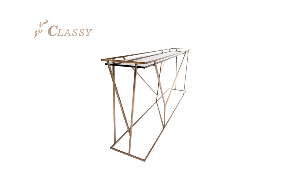 Gold Metal Frame Console Table with Glass Top Furniture
