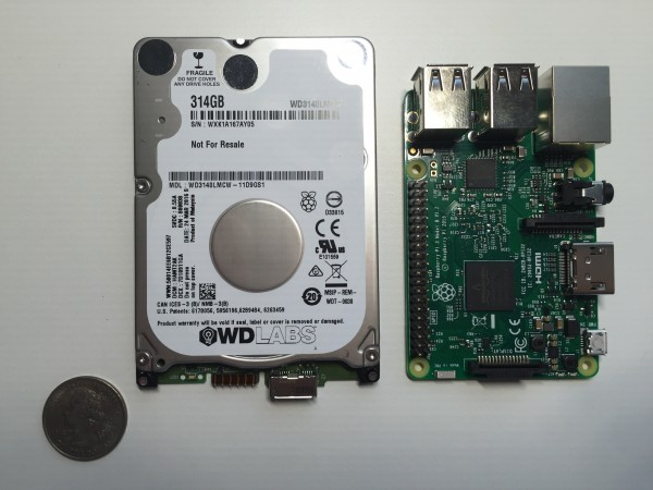 314GB PiDrive next to Raspberry Pi 3 (front)