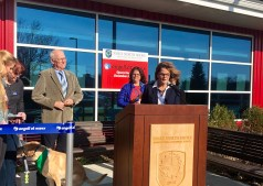 Superintendent Heidi Riccio spoke at Monday's ribbon cutting ceremony for the new Angell at Essex animal clinic. (Courtesy Photo Essex Tech)