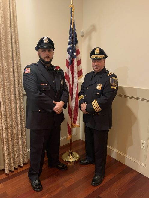 Officer Kenneth Pilz (left) and Chief Joseph Solomon (right) at the Methuen Exchange Club Honor Banquet on Tuesday, Nov. 19. (Photo courtesy Methuen Police Department)
