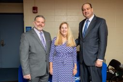 From left: Assabet Valley Regional Vocational School District Superintendent Ernest Houle, Massachusetts Partnerships for Youth Executive Director Margie Daniels and State Sen. James B. Eldridge.  (Courtesy Photo Massachusetts Partnerships for Youth)