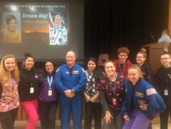 Early Child Care students and staff and NASA Astronaut Scott Tingle, center. (Courtesy Photo Northeast Metro Tech)