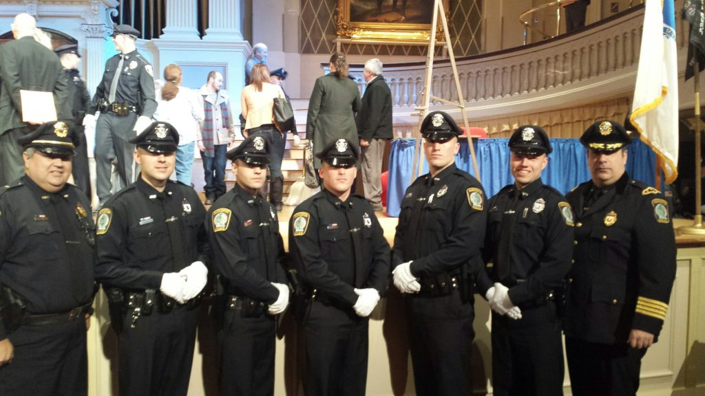 Pictured left to right; Lt. William Leanos; Training Officer, Officer David D'Angelo, Officer Jared Foote, Officer Keith Gaudenzi, Offficer Robert Morrissey, Officer Michael Cimoszki and Chief Leonard Campanello. (Courtesy of the Gloucester Police Department)