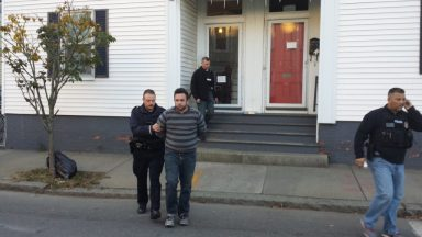 Bedford Police, with the assistance of the FBI Bank Robbery Task Force, Massachusetts State Police, and Salem Police, arrested PATRICK GEFRICH, AGE 35, OF SALEM this morning in connection with the Brookline Bank robbery in Bedford last month. (Bedford Police Courtesy Photo)