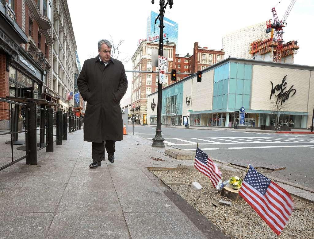 Boston Police Commissioner Edward F. Davis walks the grounds near the Finish Line (City of Boston Mayor's Office photo)