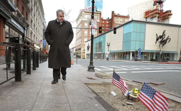 Boston Police Commissioner Edward F. Davis walks the grounds near the Finish Line (City of Boston Mayor's Office photo)