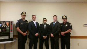 Left-to-right: Chief Michael Kent, Timothy Alben, Rameez Gandevia, Brian Hanafin, and Deputy Chief Thomas Duffy. (Courtesy Photo)