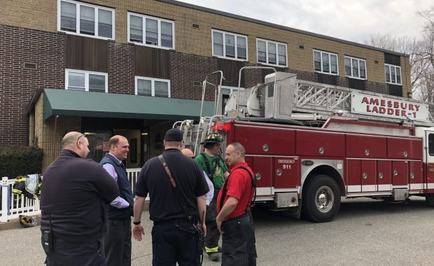 The Amesbury Fire Department, along with 10 additional departments in Massachusetts and New Hampshire, responded to the Merrimack Valley Health Center nursing home this morning for a fire. (Courtesy Photo)