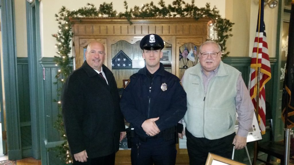 Pictured left-to-right: Saugus Police Chief Domenic J. DiMella, Officer Alexander Klimarchuk, and Acting Saugus Town Manager Robert Palleschi. (Courtesy of the Saugus Police Department)