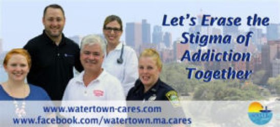 "In an effort to change the way addiction is viewed in the city, Watertown will declare Oct. 18 through the Oct. 25 ""Erase the Stigma Week."" Three billboard pictures, as seen above, featuring a representative from the Watertown Police and other key stakeholders in the city, are part of the initiative to spread the message. (Courtesy Photo)"