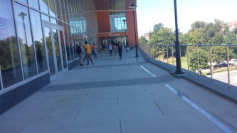 Students walk into the brand-new SECU Arena to sign up for clubs and activities.