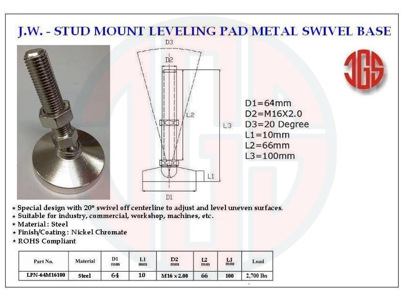 Stud Mount Leveling Pad Metal Swivel Base