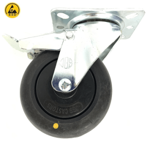 421 SERIES - BLACK CONDUCTIVE (ESD) TOP PLATE CASTORS