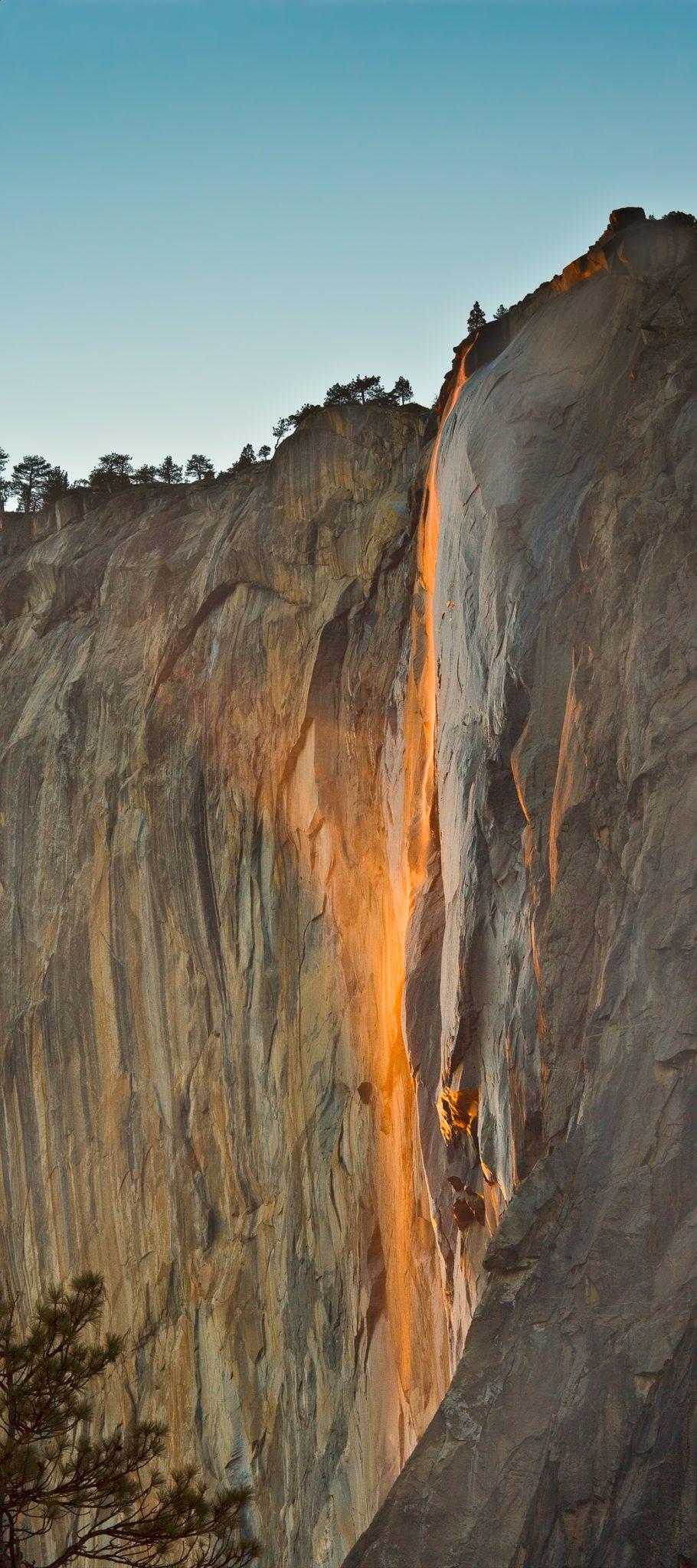 Ephemeral waterfall east face of El Capitan - Yosemite National Park