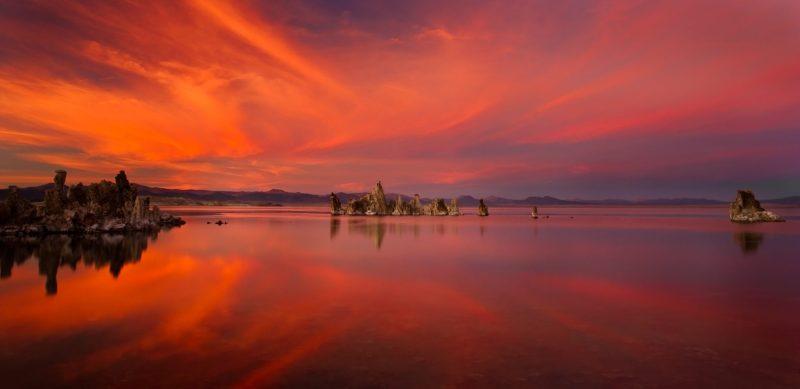 An incredible fiery sunset over Mono Lake - Eastern Sierra