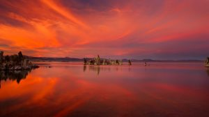 An incredible fiery sunset over Mono Lake - Eastern Sierra